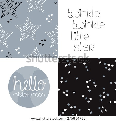 Cute kids gender neutral dreams and night theme with twinkle stars seamless background pattern and lettering wall decor design in vector - stock vector