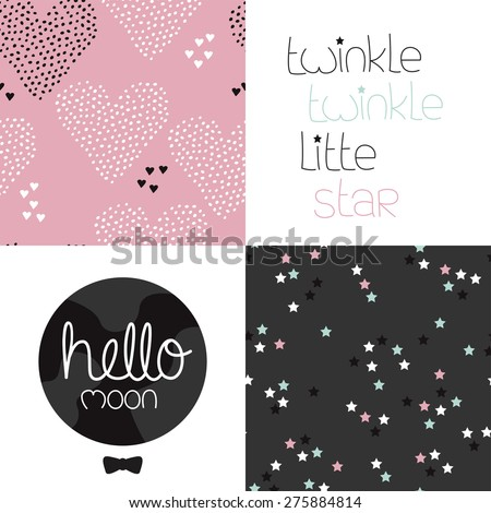 Cute kids girls dreams and night theme with twinkle stars and hearts seamless background pattern and lettering wall decor design in vector - stock vector