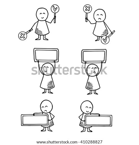 Cute kids holding empty banner for your message. Vector Illustration.
