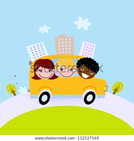 Cute kids in school bus on the hill - stock vector