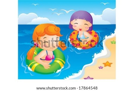 Cute Kids Life - playing fun in the water with cheerful and lovely little friends on a hot day on a background of beautiful blue sky and open ocean : vector illustration - stock vector