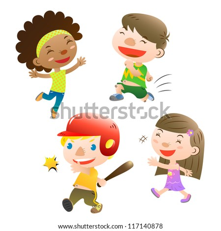 cute kids playing - stock vector
