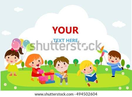 cute kids playing with toys, reading, jumping