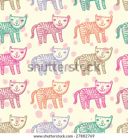 Cute kids seamless pattern in vector - stock vector