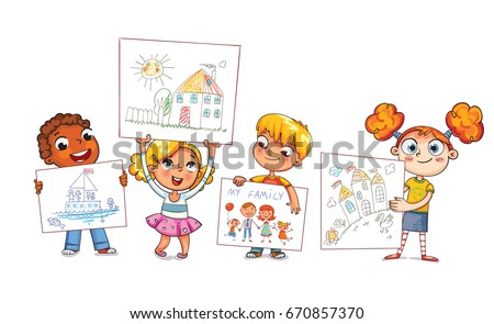 cute kids show their drawings drawn children drawing funny cartoon character vector illustration - Kids Cartoon Drawings
