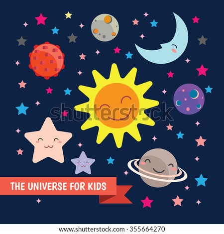 Cute Kids Space Vector Illustration Design Set - stock vector