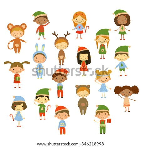 Cute kids wearing Christmas costumes vector illustration - stock vector