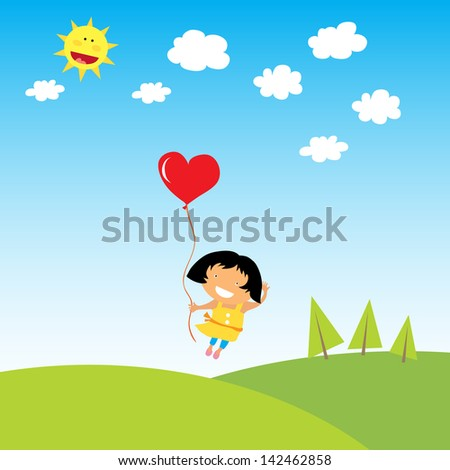 cute kids with landscape - stock vector