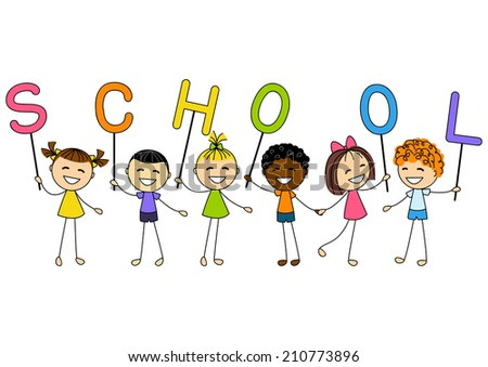 kids at school cartoon