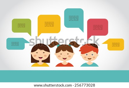 Cute kids with speech bubbles. vector illustration - stock vector