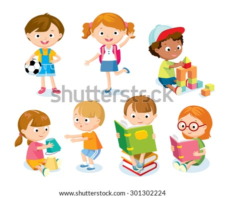 cute kids with toys and books - stock vector