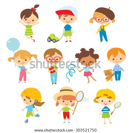 cute kids with toys at the simple style - stock vector