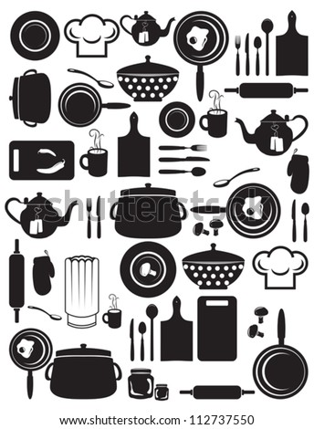 cute kitchen pattern - stock vector