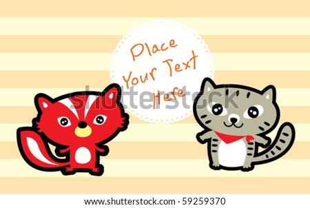 cute kitten and squirrel are friend - stock vector