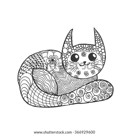 Cute kitten. Black white hand drawn doodle animal. Ethnic patterned vector illustration. African, indian, totem, tribal, zentangle design. Sketch for coloring page, tattoo, poster, print, t-shirt - stock vector