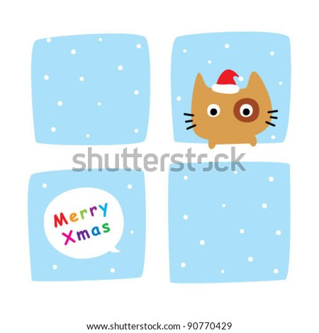 cute kitten in xmas window - stock vector