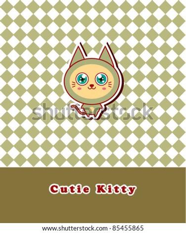 cute kitten message - stock vector