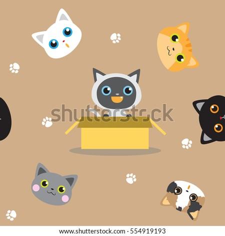 Cute kitten seamless pattern background vector stock in brown