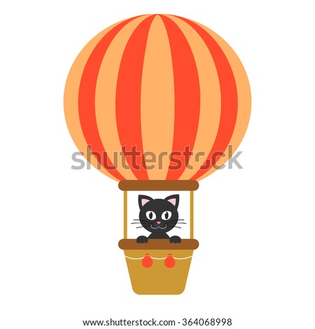cute kitty and air balloon
