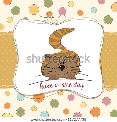 cute kitty wishes you a nice day - stock vector