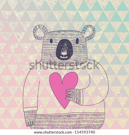 Cute koala bear in hipster style. Funny koala in sweater with big heart on modern stylish geometric  background in vector - stock vector