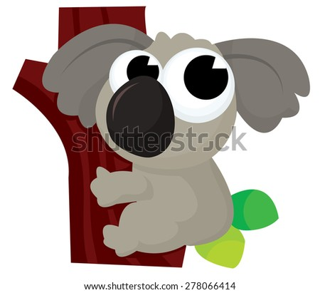 Cute koala cartoon on a tree stock vector illustration.