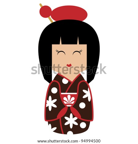 Cute Kokeshi Doll Vector - stock vector