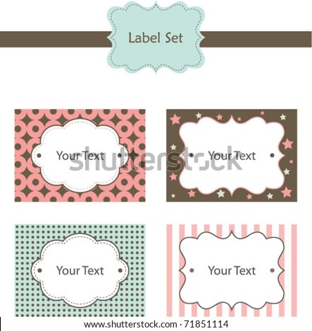 Cute Label Set - stock vector