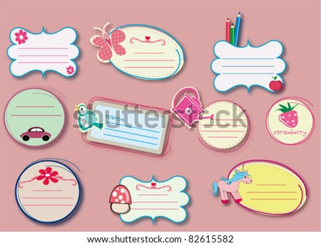 cute labels for school - stock vector
