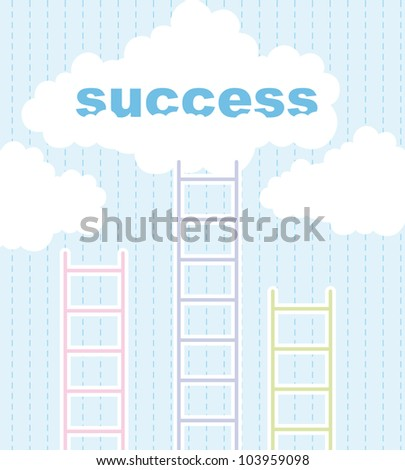 cute ladders to success over cute sky background. vector illustration - stock vector
