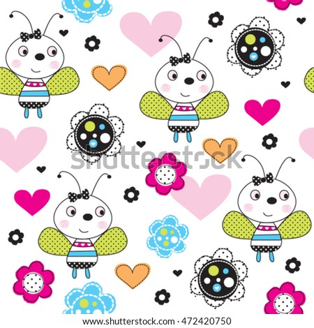 Cute Ladybug Cartoon With Hearts And Flowers On White Background Childish Pattern Vector