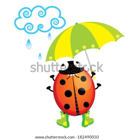 cute ladybug standing in the rain with an umbrella - stock vector