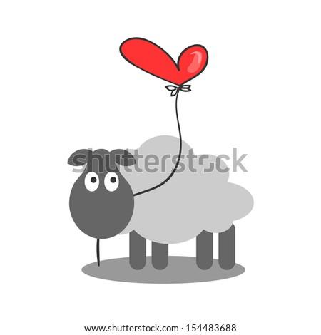 Cute lamb holding a heart balloon - stock vector