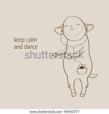 Cute lamb is listening to the music in his player and dancing - stock vector