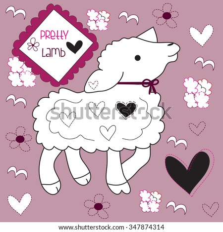 cute lamb whit hearts and curls and flowers vector illustration