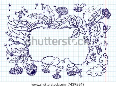 Cute landscape summer frame (doodle version) - stock vector