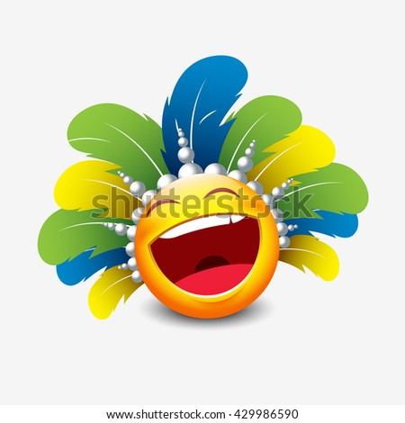 Cute laughing emoticon isolated on white background with carnival headdress motive - smiley - vector illustration - stock vector