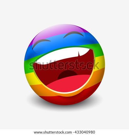 Cute laughing emoticon isolated on white background with rainbow colors motive - smiley - vector illustration - stock vector