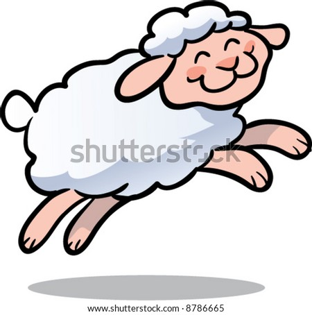 cute leaping lamb vector illustration - stock vector