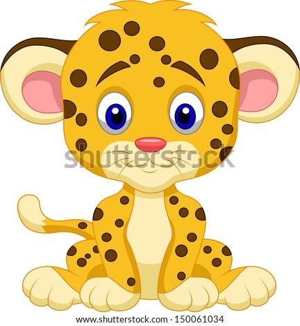 Cute leopard cartoon - stock vector