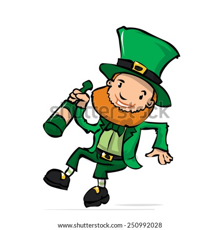 Cute leprechaun with a bottle of whiskey celebrates St. Patrick's Day. Hand drawn cartoon illustration.