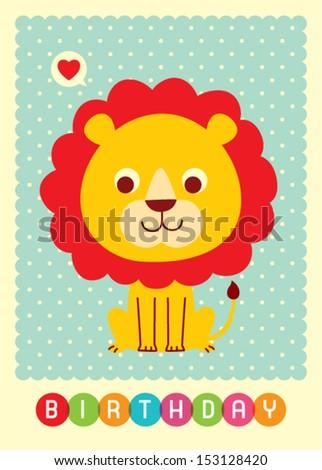cute lion birthday card - stock vector