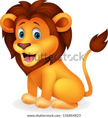 cute lion cartoon stock vector 136864823 shutterstock rh shutterstock com cute lion clipart free cute baby lion clipart