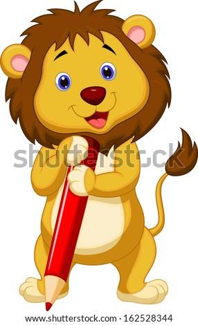 Cute lion cartoon holding pencil - stock vector