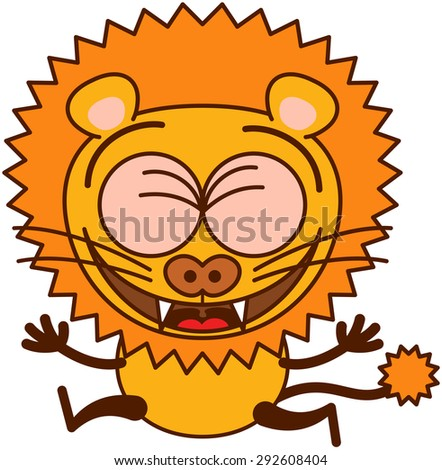 Cute lion in minimalistic style with rounded ears, bulging eyes, sharp teeth and long tufted tail while clenching its bulging eyes, laughing and jumping as for celebrating something in an animated way