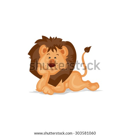 Cute Lion Thinking - stock vector