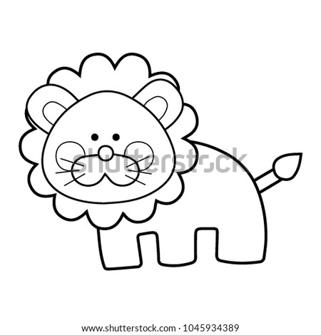 Cute Lion Toy Cartoon Line Art Style Vector Illustration Coloring Page For Kid