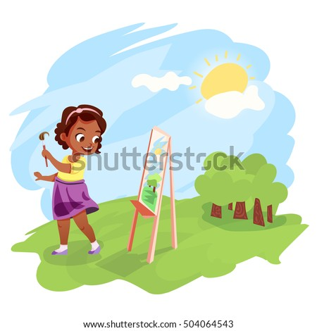 cute little african american girl painting an image on easel outdoors kids hobby cartoon illustration - Cartoon Painting For Kids
