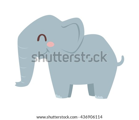 Cute little african elephant isolated on white. Elephant baby animal african zoo vector illustration. Nature mammal, trunk wildlife safari big african elephant. Large strong zoo animal character. - stock vector