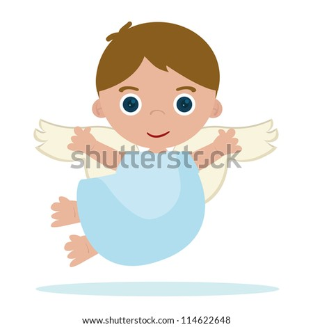 cute little angel flying in heaven - stock vector